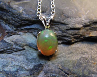 Ethiopian Opal Pendant Necklace Sterling Silver Necklace Natural Opal Cabochon Fire Opal 1.8 carats