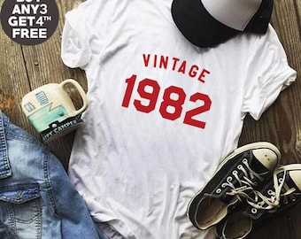 Vintage Shirt 36th Birthday For Gifts Shirt 1982 Birthday Tshirt Fashion Birthday Women Tshirt Number Shirt Birthday Funny Shirt Men Tshirt