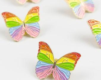 Rainbow Butterfly Pin / Rainbow Pin / Cute Pin / LGBT Enamel Pin / LGBT Pin / Lapel Pin / Butterfly Gift / Animal Pin / Rainbow Pin Badge