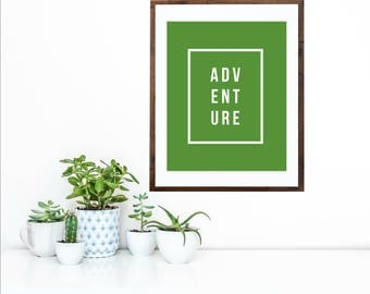 ADVENTURE Digital Print | Kelly Green | Simple Modern Art Printable | Home Décor Typography Poster | INSTANT DOWNLOAD