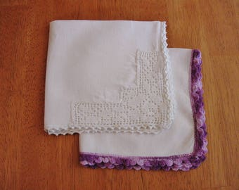 2 HANDKERCHIEFS with CROCHET EDGE White & Purple Hand Crocheted Vintage Ladies Handkerchief