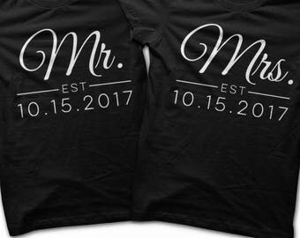 Matching Wedding Shirts - Mr. and Mrs. Shirts / Husband Clothing / Wife Outfit / Jack and Jill Party Shirts / Wedding Paired Tshirts T Shirt