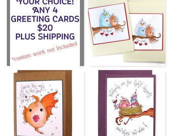 4 pack cards, greeting cards multipacks, all occasion cards, cute cards, handmade cards, animal art cards, birthday cards, wedding cards