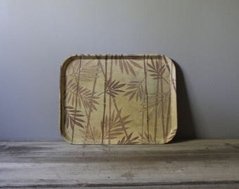 Vintage fiberglass tray with bamboo design