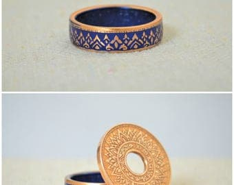 Thailand Coin Ring, Blue Coin Ring, Blue Ring, Crown Ring, Unique Ring, Blue BoHo Ring, Coin Jewelry, Blue Bohemian Ring, Thai Coin Ring