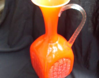 bottiglia vaso caraffa in opalina, jug of opaline glass two-tone, red tending to orange, manual processing,handle and base in white opalinus