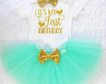 mint and gold first birthday outfit girls first birthday outfit baby girl first birthday outfit first birthday outfit girls 1st birthday