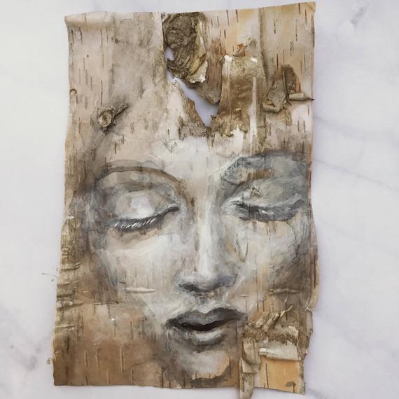 Whisper Birch Bark Original Painting wall art Woodland Theme Art woman's face nature natural