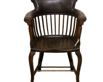 Antique Style Oak Captains Desk Chair