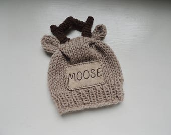 Knit Moose Beanie, Luv Beanies, Baby Moose hat, Baby boy hats, Boy Beanies, Moose Photo Prop, Photo Prop, Baby hats, personalized hats,