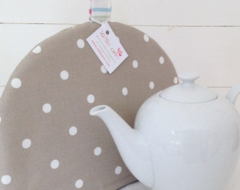 Tea Cosy, Taupe Dotty Tea Cosy, Taupe Tea Cosy, Dotty Tea Cosy, Time for Tea! Kitchen Accessory, Spot Tea Cosy