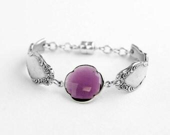 Purple Bracelet For Women, Purple Bridesmaid Jewelry, Wedding Jewelry For Bridesmaids, Purple Quartz Bracelet, Silverware Jewelry