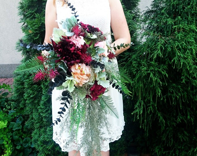 Wild tropical boho flowers wedding bouquet cascade burgundy peach greenery satin ribbon peony dahlia ferns eucalyptus long big