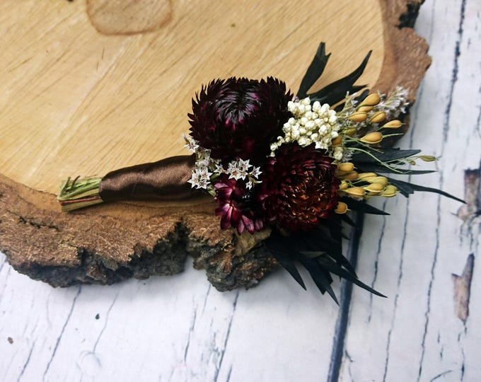 Dried flowers brown boutonniere rustic wedding sola Flower flax preserved greenery country chic elegant dark fall winter alternative flowers
