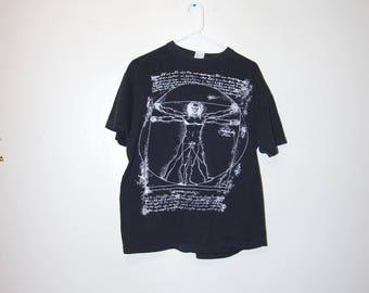 80's Vitruvian Man Leonardo da Vinci black t-shirt