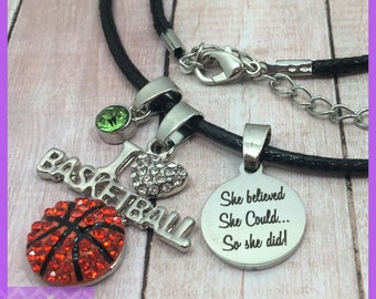 Personalized Basketball Gift, Basketball Necklace, Birthstone Necklace, She Believed She Could So She Did, Graduation, Senior Night, I Heart