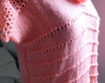 Salmon tank top and collar snood was matched, large, hand knitted in acrylic