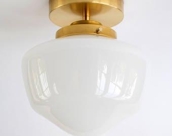 8 Inch Schoolhouse Semi-Flush Or Pendant Light Fixture