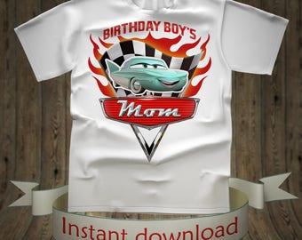 Disney Mom Cars Birthday shirt Lightning McQueen Tee Tees T-Shirt Cars Printables tshirt iron on transfer birthday party for girl