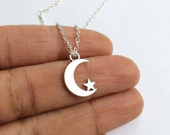 Moon and Star Necklace, Moon Star Necklace, Layered Necklace, Crescent and Star Necklace, Star Necklace, Moon Necklace,,Mothers Day Gift