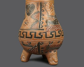 Mexican Handmade Vase Pottery Art Ceramic Brown Black Beige Made in Mexico Large Size