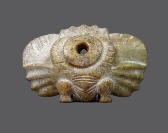 Jade Rock Sculpture Hand-Carved Mid Century Modern MCM MOD Decor Stone Art