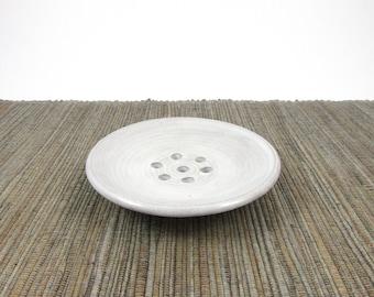 Soap Dish, Hand Made Ceramic Self Draining Soap Dish in White Glaze, Round Soap Dish, Pottery Soap Dish, White Dish, Ready to Ship