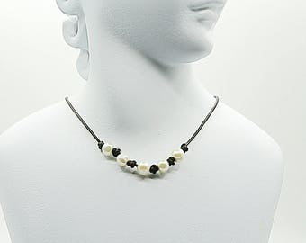 Leather Pearl choker necklace - knotted pearl necklace - leather necklace - gift under 50 for her