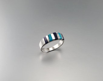 Ring with Lapis Lazuli and Turquoise set in Sterling silver - gift idea