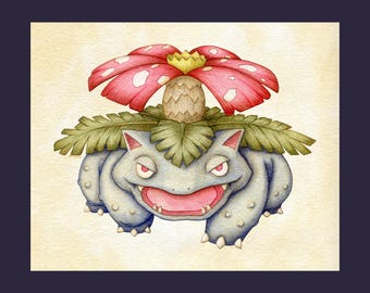 Venusaur Pokémon Fine Art Print - 8x10 on Fine Art Watercolor Paper - Giclee Print