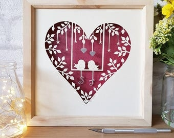 Personalised wedding gift, wedding papercut, Valentine's day gift, paper anniversary, papercut, papercutting, gifts for her.