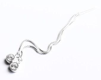Diamond Threader Earrings, Chain Earrings, CZ Crystal Sterling Silver Er Thread Earrings, Long Earrings,Dangle Bridesmaid Earrings