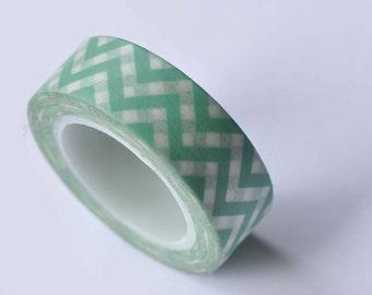 Green Chevron Wave Washi Tape 15mm Wide x 10m Roll No.12709