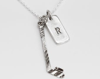 Hockey Stick Personalized Necklace, Ice Hockey Gift,  Initials, Gift for Hockey Player, Hockey Stick
