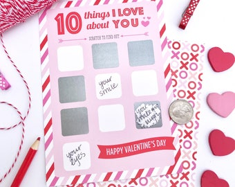 Scratch Off Valentine Card, 10 Things I Love About You, Valentine Card Wife  Boyfriend