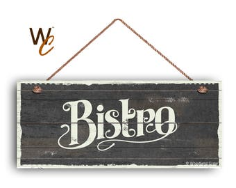 """ON SALE Bistro Sign, French Cafe 6""""x14"""" Sign, Dark Gray Rustic Style Kitchen Sign, Housewarming Gift, Dining Sign, Made To Order"""