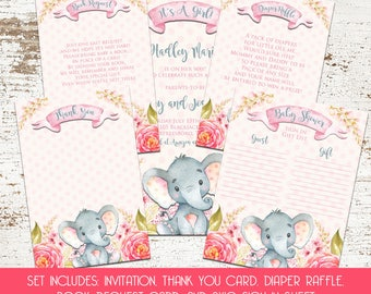 Watercolor Elephant Baby Shower Set - Invitation - Book Request - Diaper Raffle - Thank You Card - Guest Sign In Sheet