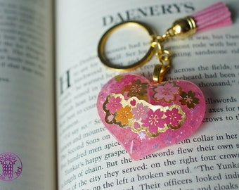 Sakura Pink and Golden Key Chain