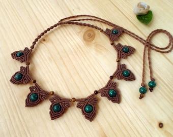 Malachite macrame necklace, macrame jewelry, tigers eye necklace, macrame choker, malachite jewelry, gemstone necklace, tigers eye jewelry