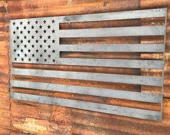 Rustic Metal American Flag, USA Flag, Rustic Flag Sign, Rustic Wall Decor, Farmhouse decor, Garden, Porch Flag, Gunmetal Flag, Metal Flag