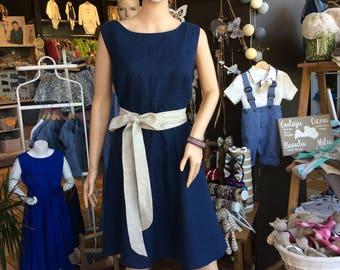 Women linen dress navy blue, summer linen dress with belt, knee length linen dress blue, romantic dress, natural linen dress