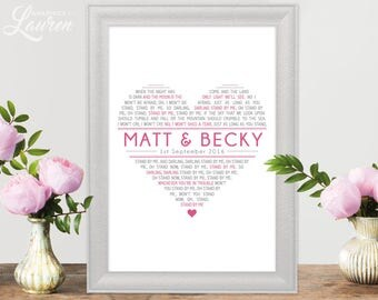 First Dance Lyric Poster / Song Lyric Heart poster / Wedding Gift / Typographic Poster / Graphic Design