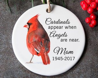 Sympathy Ornament for Lost Loved One, In Loving Memory Ornament, Memorial Gift for Christmas, Red Cardinal Ornament
