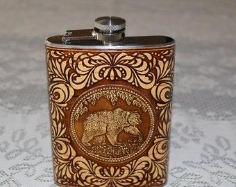 Birch bark / stainless steel flask  .
