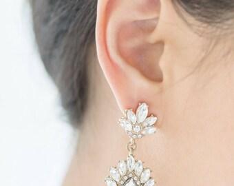 Bridal Crystal Drop Pearl Earrings, Statement Earrings, Bridesmaid Gift, Bridesmaid Jewelry, Bridesmaid Earrings, Bridal Statement Earrings