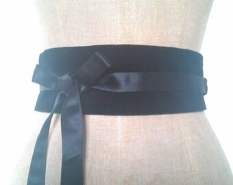 Japanese OBI belt in Matt Black velvet and silk satin / belt reversible tie women / silk waist cincher / pregnancy belt