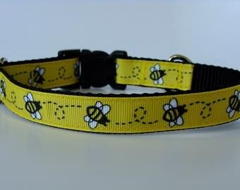 Yellow Honey Bee Small Dog Collar - READY TO SHIP!