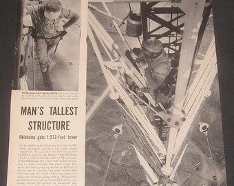 1954 Oklahoma Gets 1,572 Foot Television Tower, Vintage Magazine Article, Station KWTV, Construction Photos