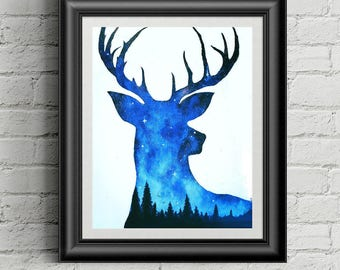 Deer Forest Print | Deer Print | Deer in Forest | Antlers Print | Deer Painting | Spirit Animal | Double Exposure Deer | Space Animals |