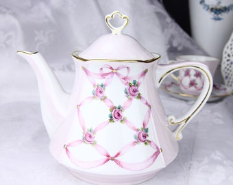 VSC Hand Painted Teapot with Rose and Pink Ribbon